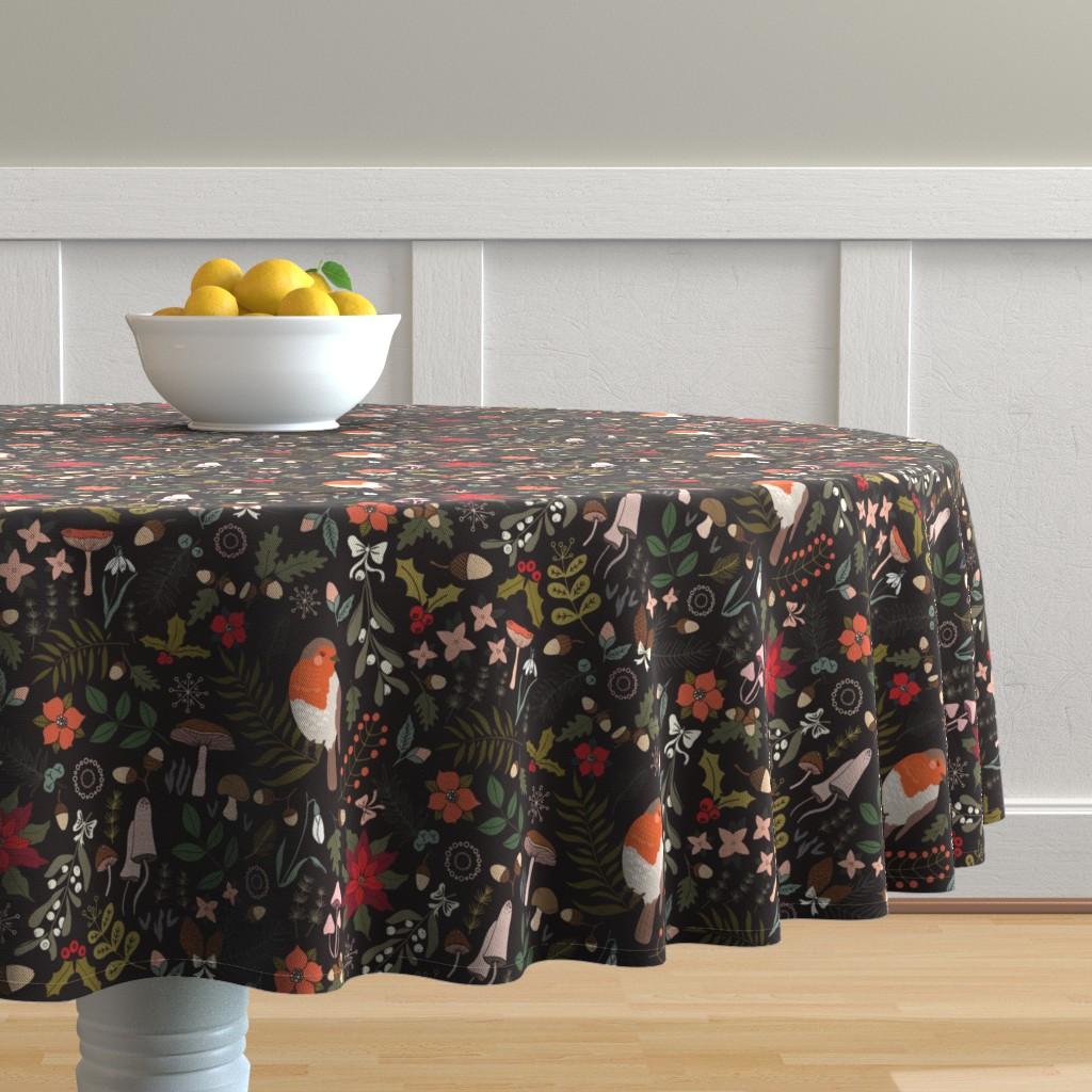 Malay Round Tablecloth featuring Sleeping Robin - Winter Floral by aliz_arteta