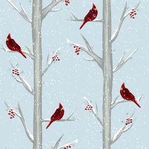 Red Christmas Bird Winter Forest