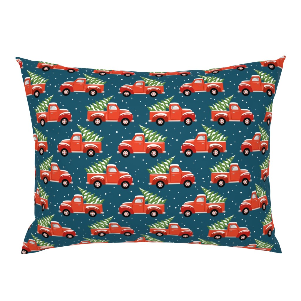 Campine Pillow Sham featuring vintage christmas trucks - dark blue by mirabelleprint