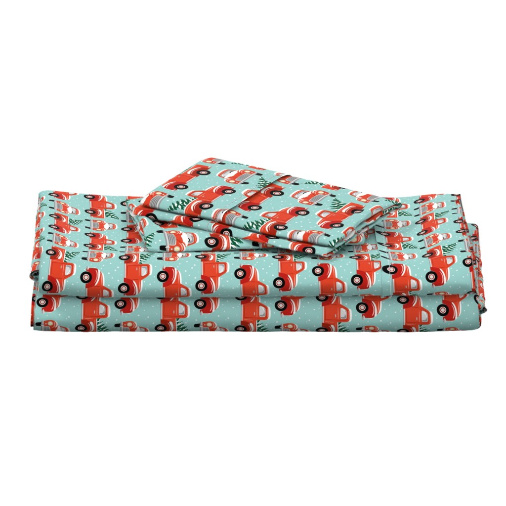Langshan Full Bed Set featuring vintage christmas trucks - light blue by mirabelleprint