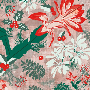 Botanical Winter Wonder with Christmas cactus, Snow Flake, Pine Cones and Holly- Large Scale