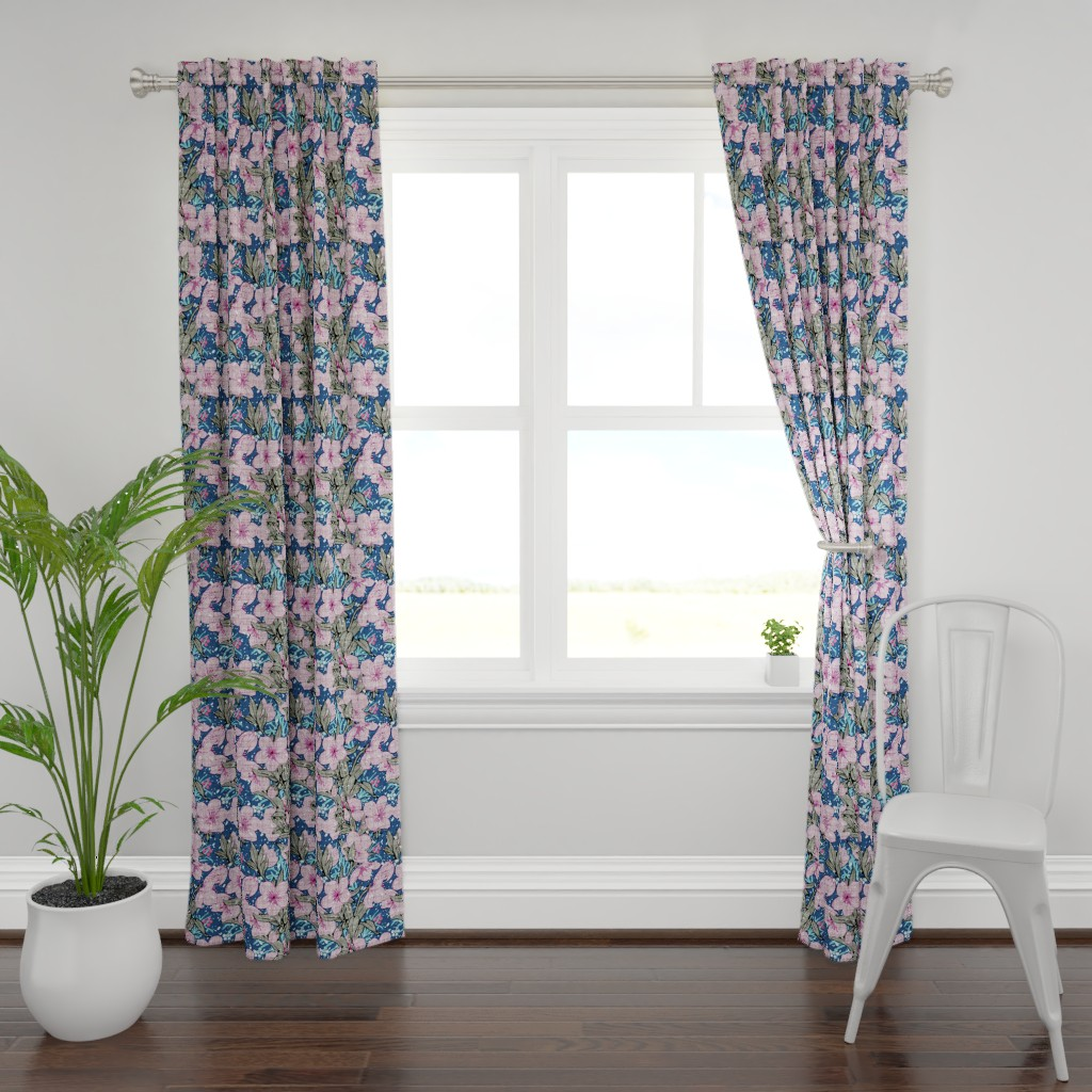 Plymouth Curtain Panel featuring Hellebore in snowfall by chicca_besso