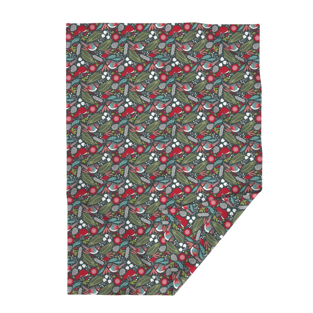 Lakenvelder Throw Blanket featuring Joyful Winter Floral by cjldesigns