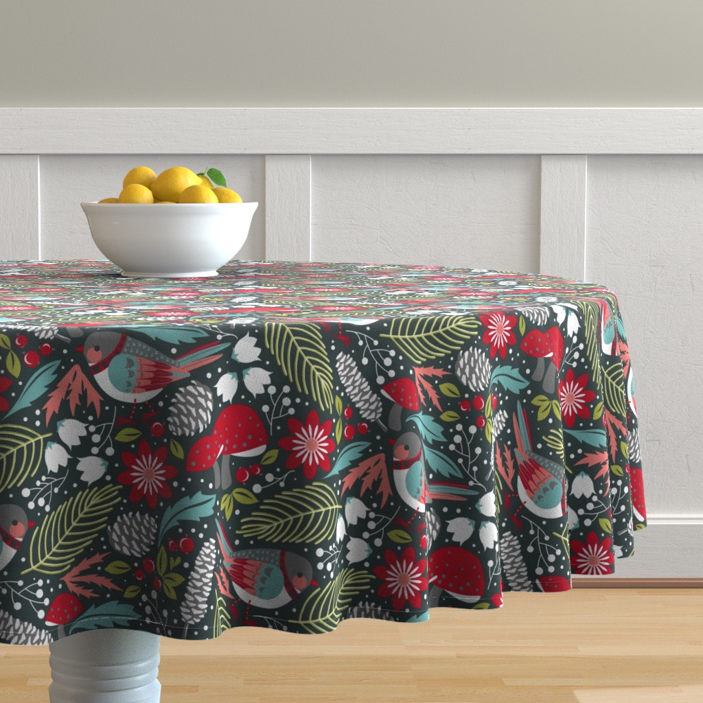 Malay Round Tablecloth featuring Joyful Winter Floral by cjldesigns