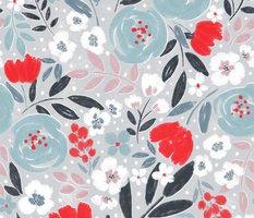 Abby Floral Blue On grey