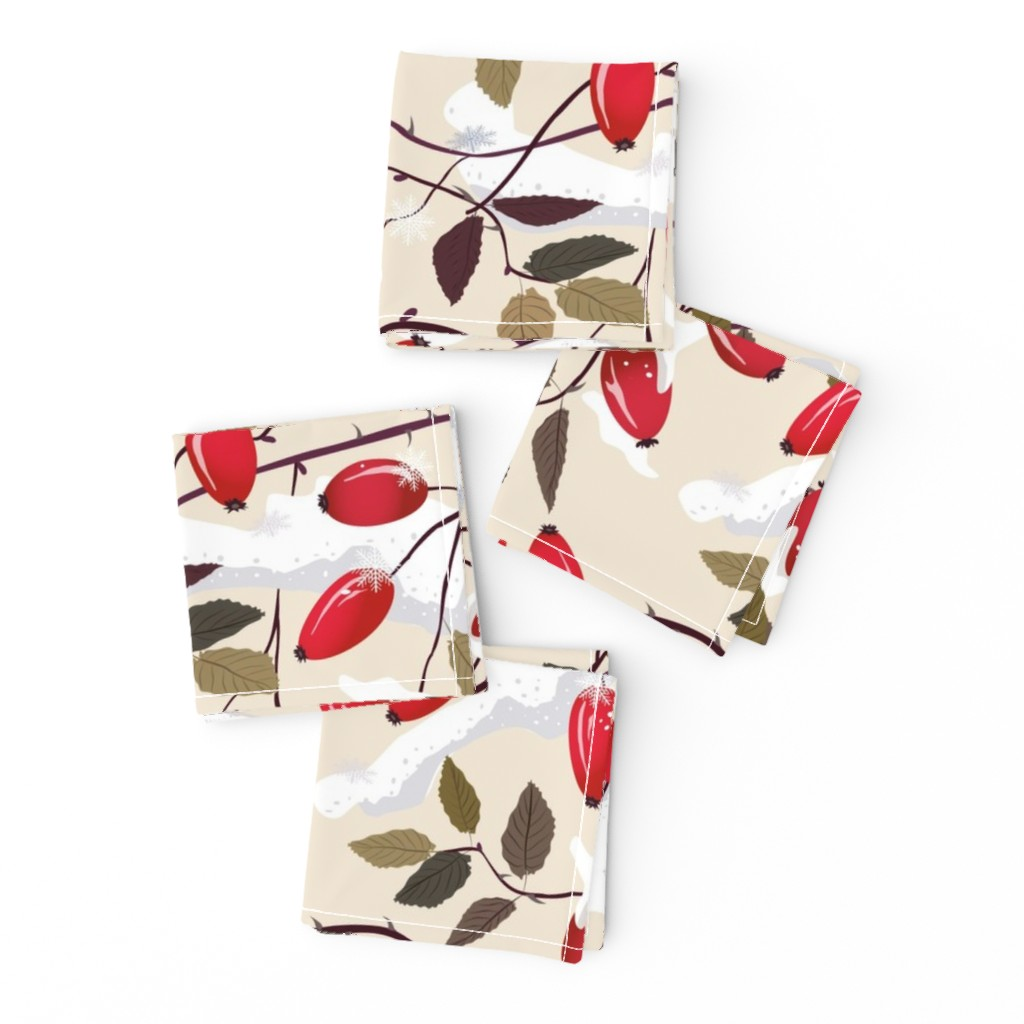 Frizzle Cocktail Napkins featuring Dog rose in the snow     by inna_alborova