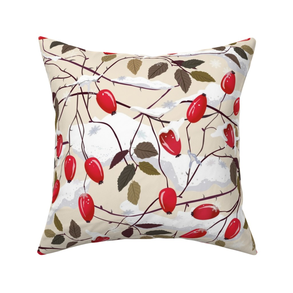 Catalan Throw Pillow featuring Dog rose in the snow     by inna_alborova
