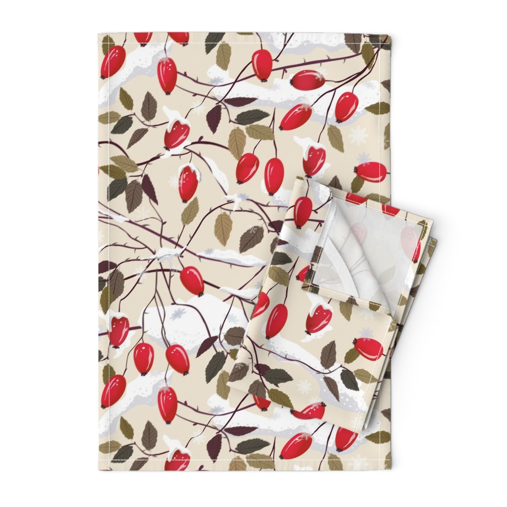 Orpington Tea Towels featuring Dog rose in the snow     by inna_alborova