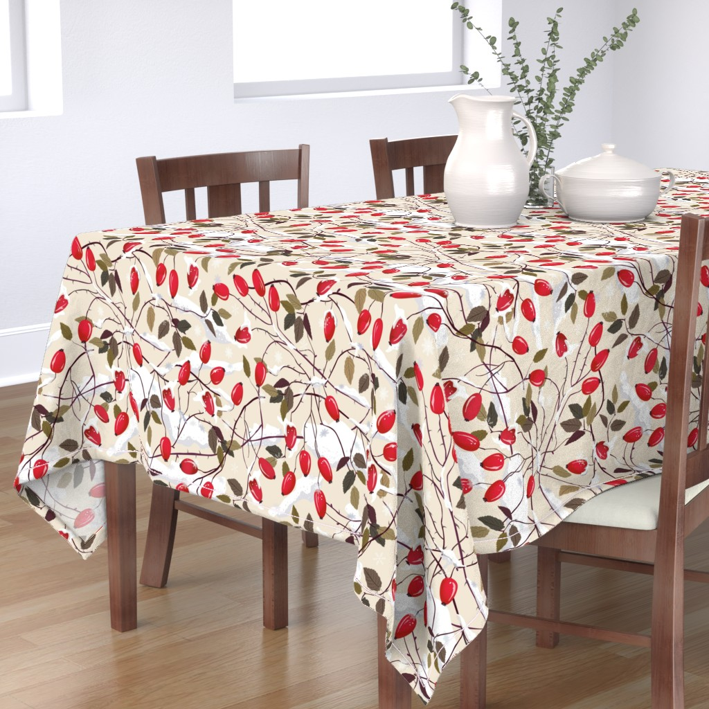 Bantam Rectangular Tablecloth featuring Dog rose in the snow     by inna_alborova