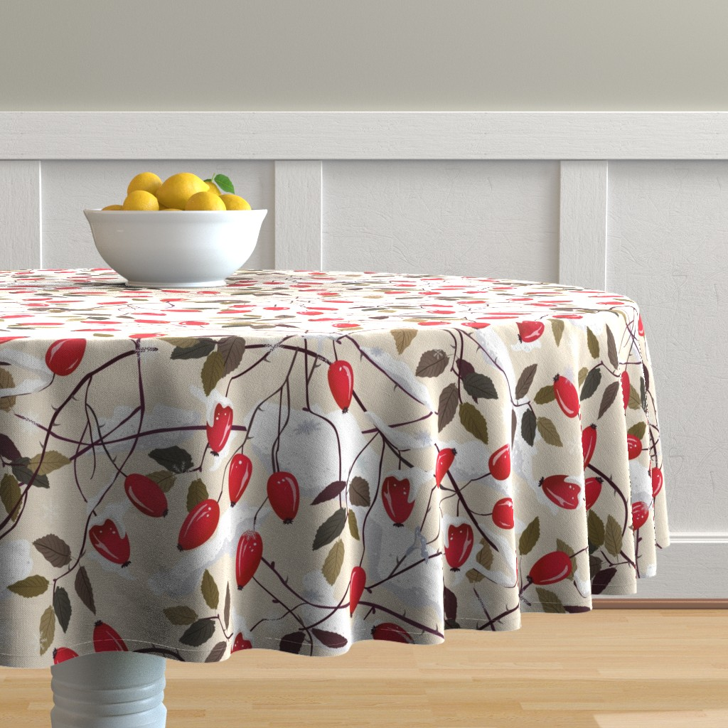 Malay Round Tablecloth featuring Dog rose in the snow     by inna_alborova