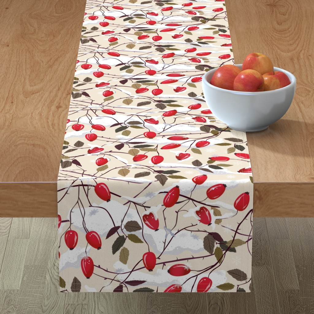 Minorca Table Runner featuring Dog rose in the snow     by inna_alborova