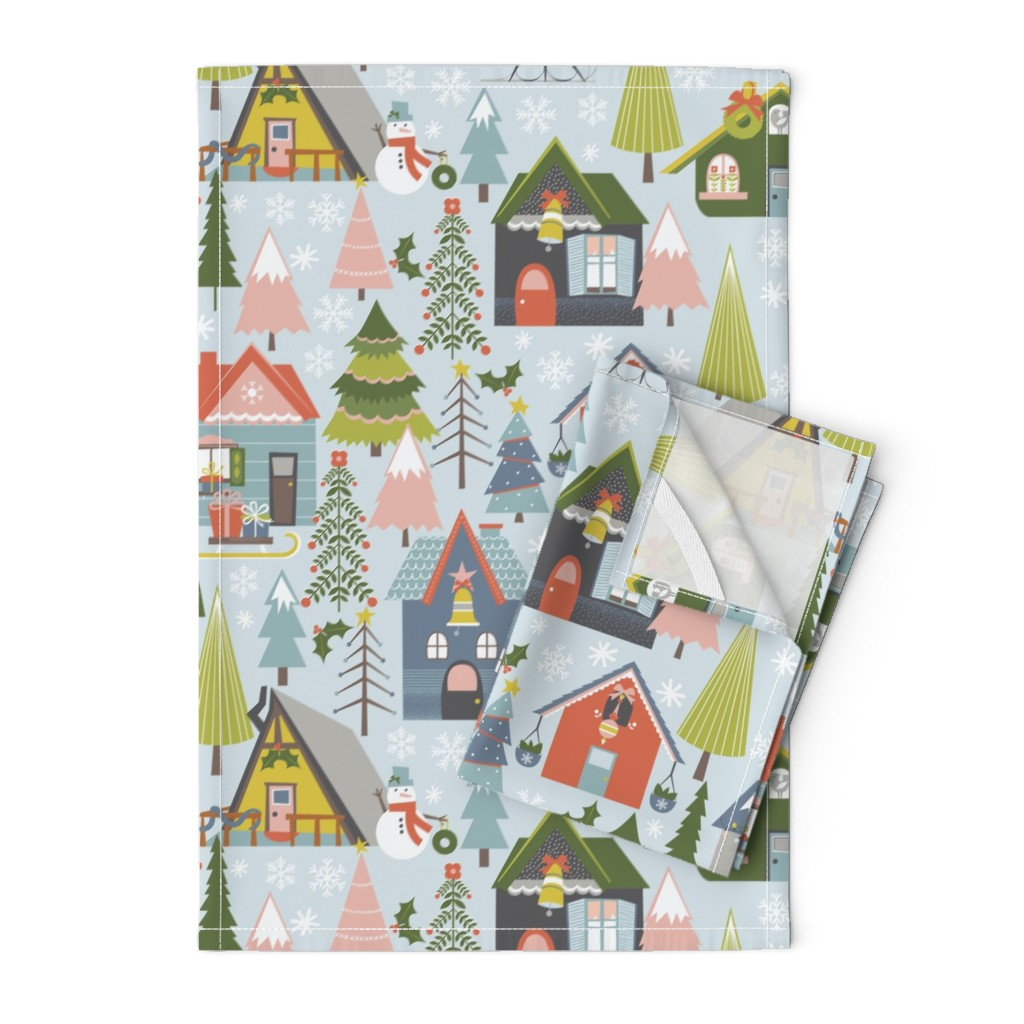 Orpington Tea Towels featuring Winter Village by oliveandruby