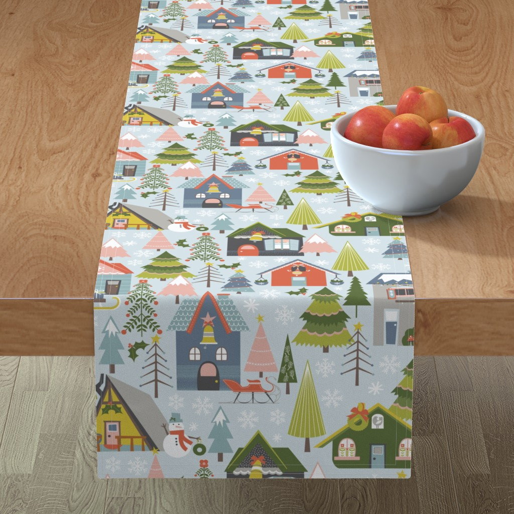Minorca Table Runner featuring Winter Village by oliveandruby