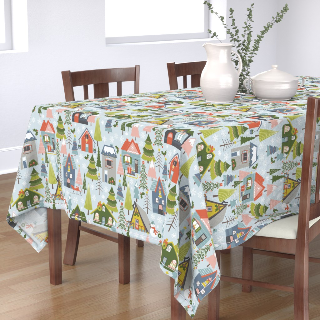 Bantam Rectangular Tablecloth featuring Winter Village by oliveandruby