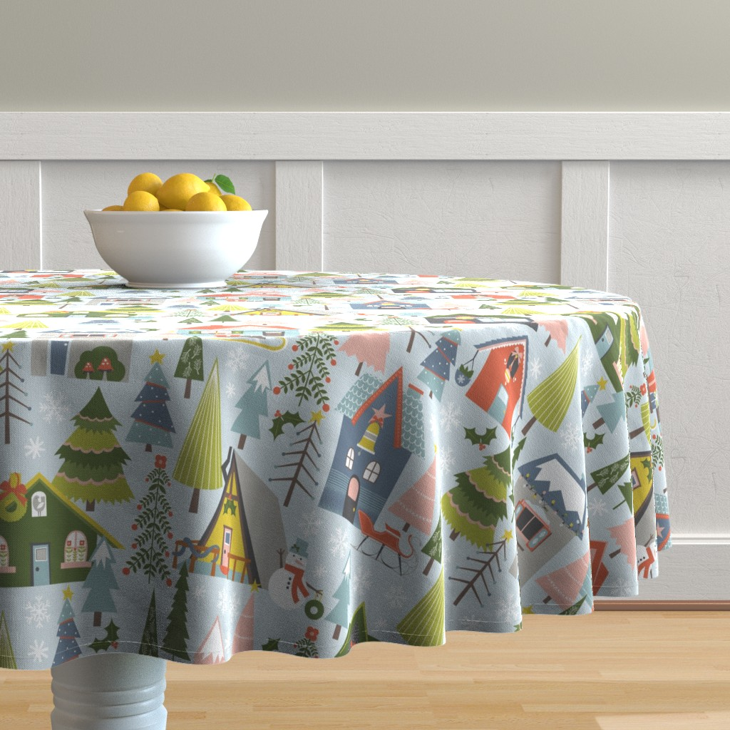 Malay Round Tablecloth featuring Winter Village by oliveandruby