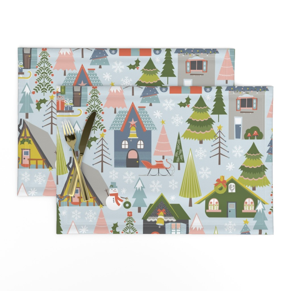 Lamona Cloth Placemats featuring Winter Village by oliveandruby