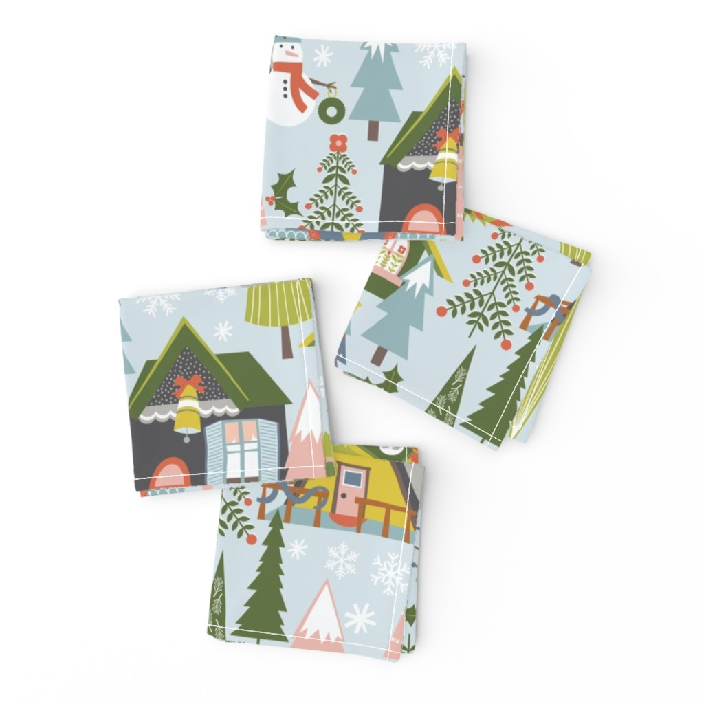 Frizzle Cocktail Napkins featuring Winter Village by oliveandruby