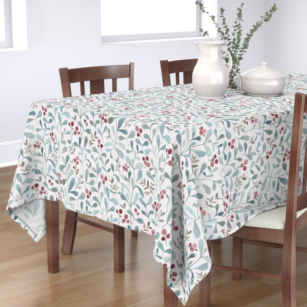Bantam Rectangular Tablecloth featuring Winter flora - LARGE - watercolor red berries and mistletoe leaves  by lolahstudio