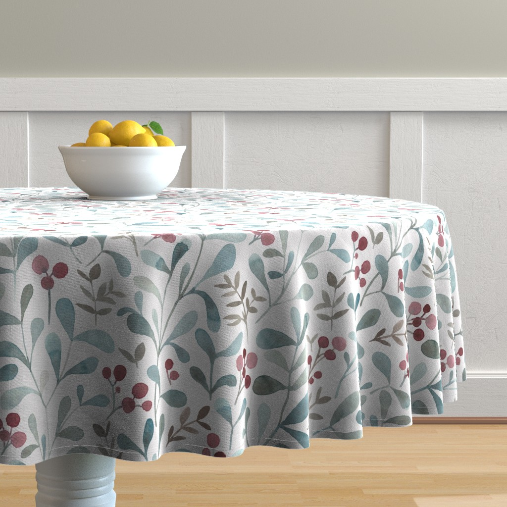 Malay Round Tablecloth featuring Winter flora - LARGE - watercolor red berries and mistletoe leaves  by lolahstudio