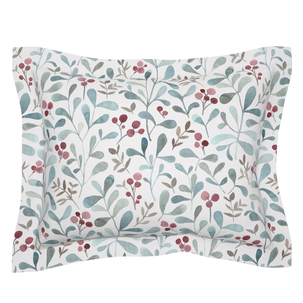 Sebright Pillow Sham featuring Winter flora - LARGE - watercolor red berries and mistletoe leaves  by lolahstudio