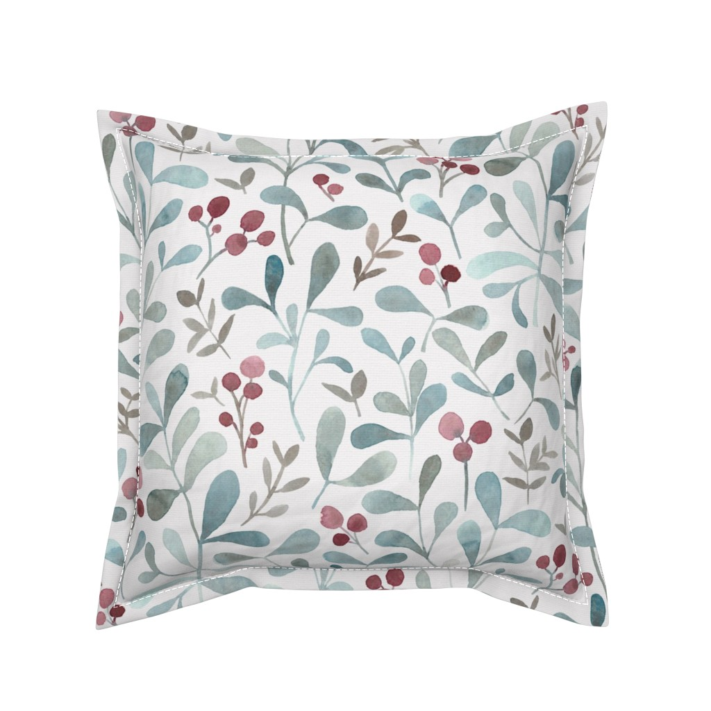 Serama Throw Pillow featuring Winter flora - LARGE - watercolor red berries and mistletoe leaves  by lolahstudio