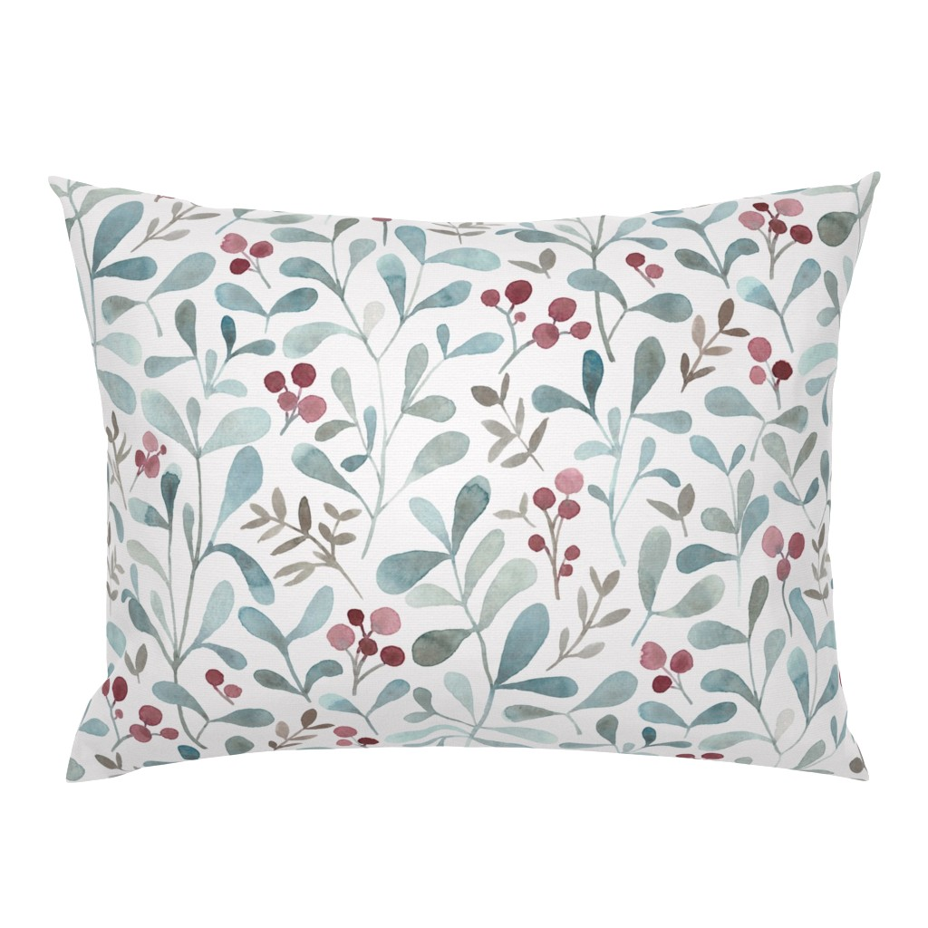 Campine Pillow Sham featuring Winter flora - LARGE - watercolor red berries and mistletoe leaves  by lolahstudio