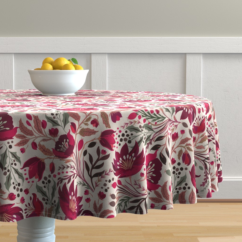 Malay Round Tablecloth featuring Christmas Rose - Hellebores by jill_o_connor