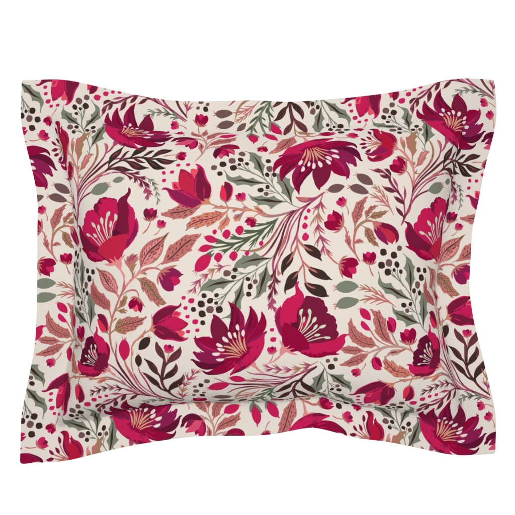Sebright Pillow Sham featuring Christmas Rose - Hellebores by jill_o_connor
