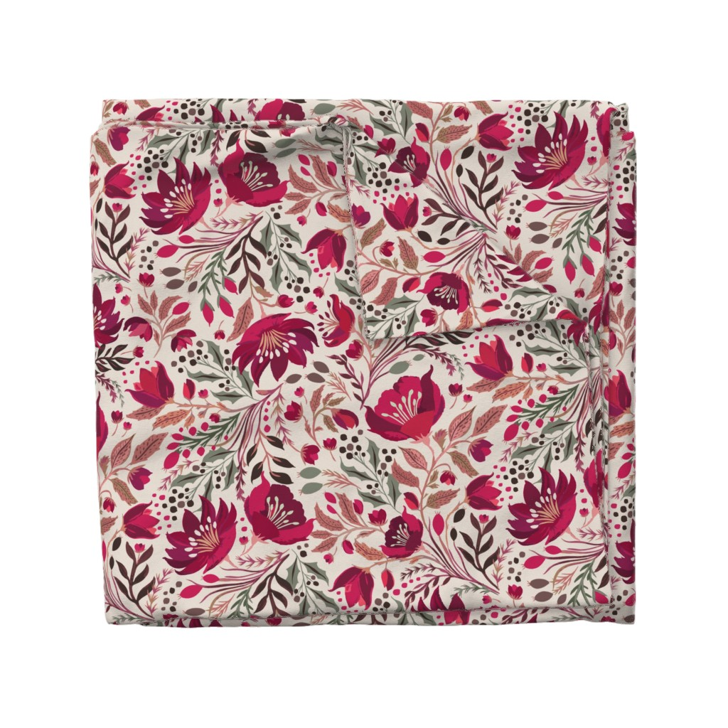 Wyandotte Duvet Cover featuring Christmas Rose - Hellebores by jill_o_connor