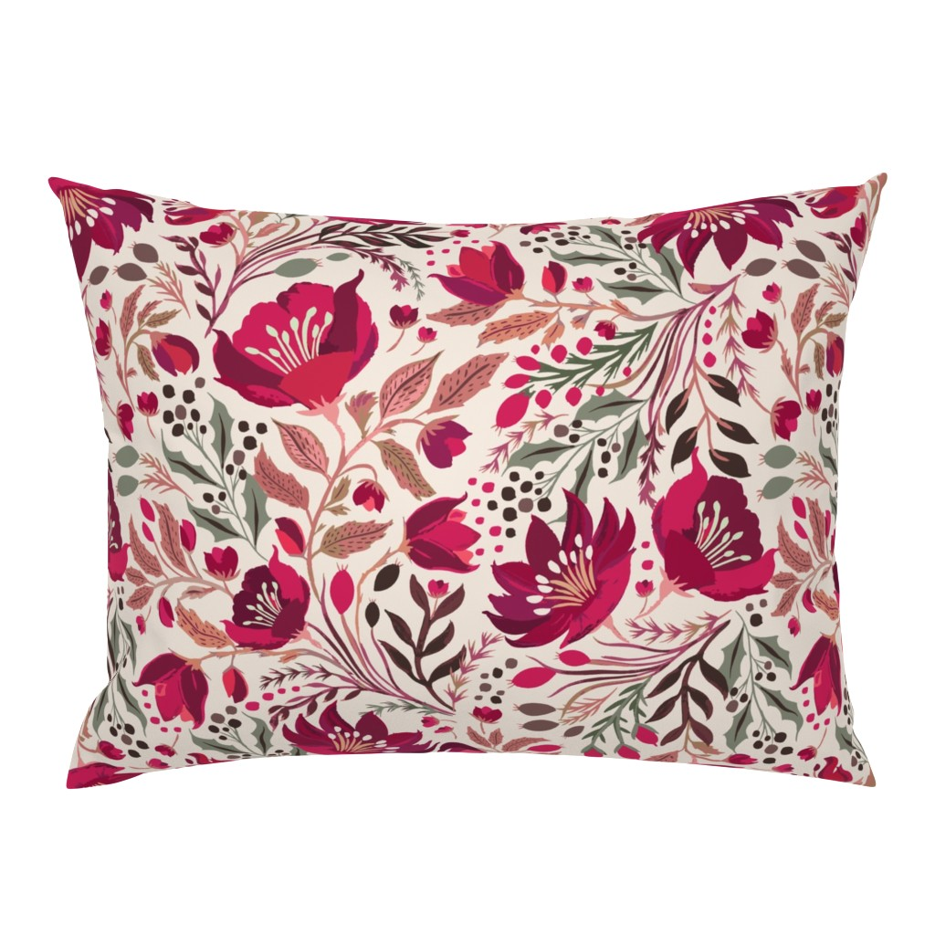 Campine Pillow Sham featuring Christmas Rose - Hellebores by jill_o_connor