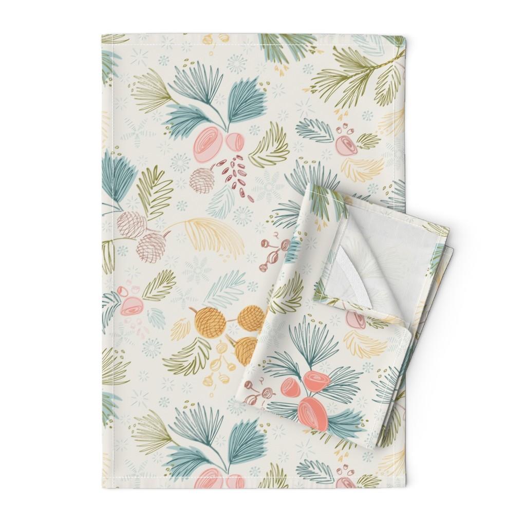 Orpington Tea Towels featuring Winter Flora Ivory by gartmanstudio