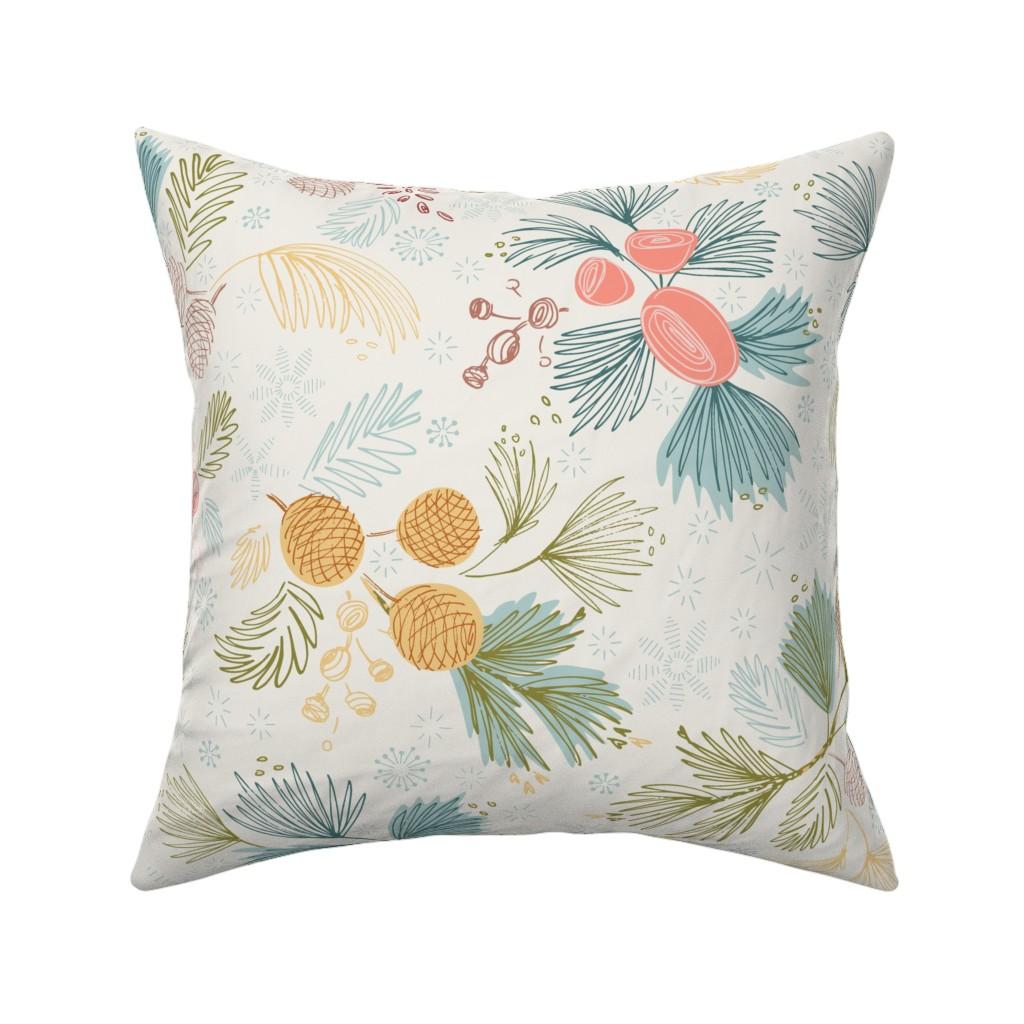 Catalan Throw Pillow featuring Winter Flora Ivory by gartmanstudio