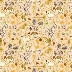 Winter Woodland Creatures on Blush - small