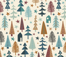 Fir Trees - Teal, Brown