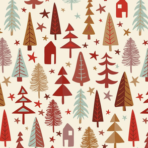 Fir Trees - Red, aqua, brown, nature, woodland, modern,