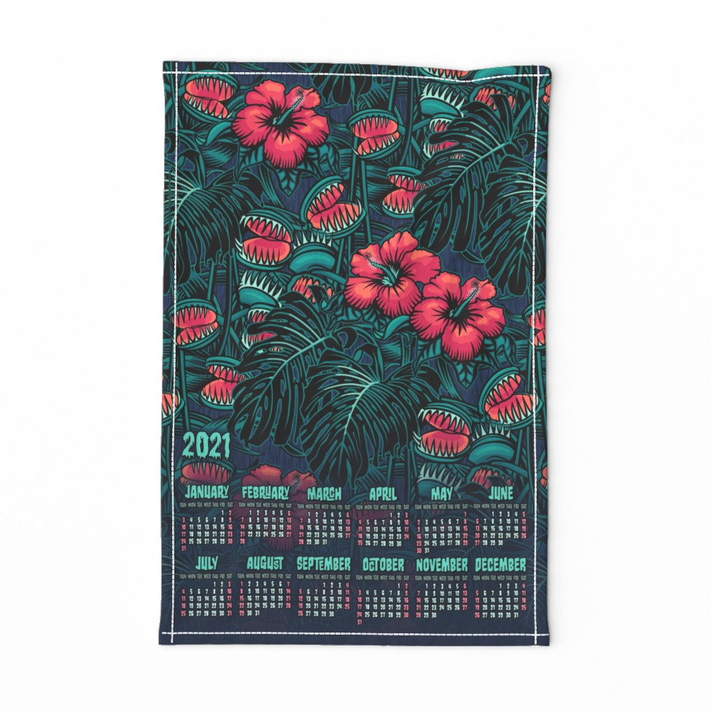 Special Edition Spoonflower Tea Towel featuring ★ 2020 : THE LAW OF THE JUNGLE ★ Tea Towel Calendar - Venus Fly Trap, Hibiscus and Monstera / Collection : It's a Jungle Out There – Savage Hawaiian Prints by borderlines