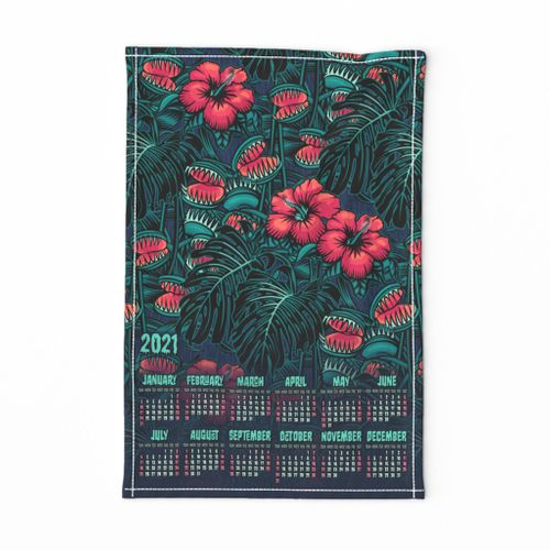 "★ 2021 : THE LAW OF THE JUNGLE ★ Tropical Tea Towel Calendar - Venus Fly Trap, Hibiscus and Monstera - Pink + Teal // Collection : It's a Jungle Out There – Savage Hawaiian Prints *** Please read the ""Comments"" section before ordering fabric ;-)"