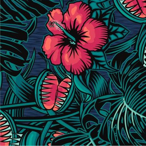"""★ 2020 : THE LAW OF THE JUNGLE ★ Tropical Tea Towel Calendar - Venus Fly Trap, Hibiscus and Monstera // Collection : It's a Jungle Out There – Savage Hawaiian Prints *** Please read the """"about the design"""" section below before ordering ;-)"""