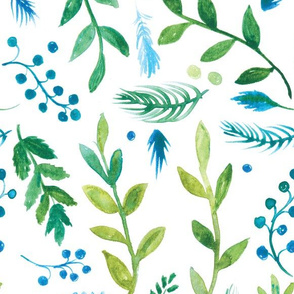 Winter Flora in Blues and Greens (larger scale)