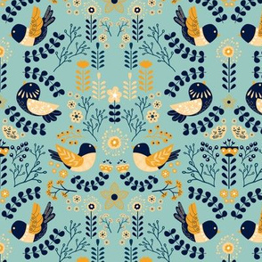 Scandinavian Floral Birds - Yellow Cyan