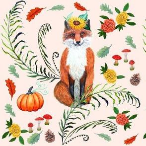 Thanksgiving Fox, pumpkins, sunflower, pine cones, red mushrooms