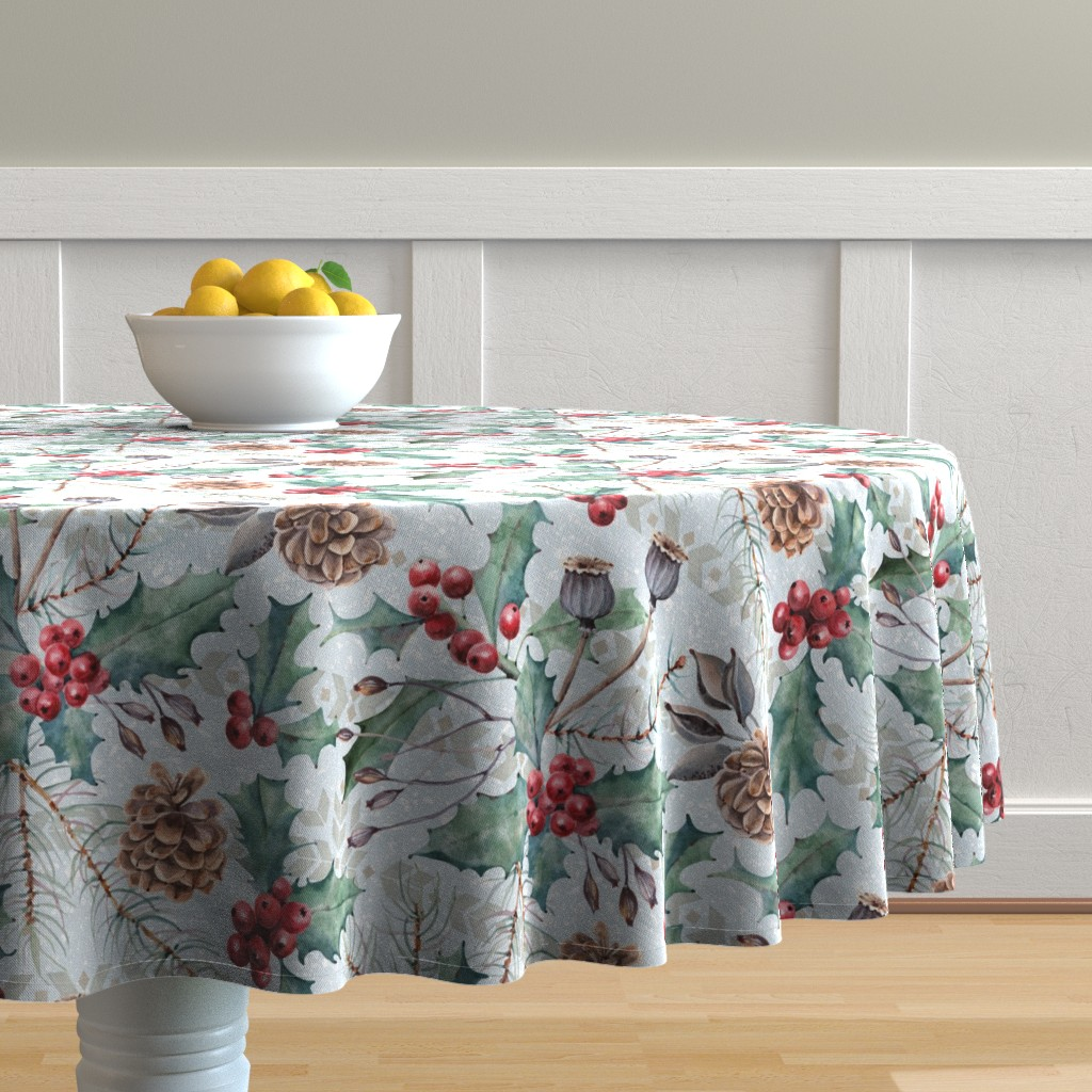 Malay Round Tablecloth featuring Winter Flora by malibu_creative