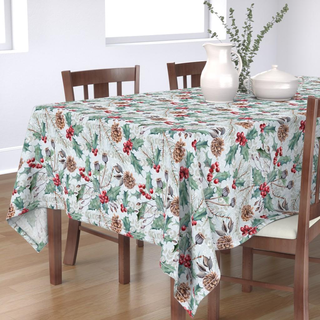 Bantam Rectangular Tablecloth featuring Winter Flora by malibu_creative