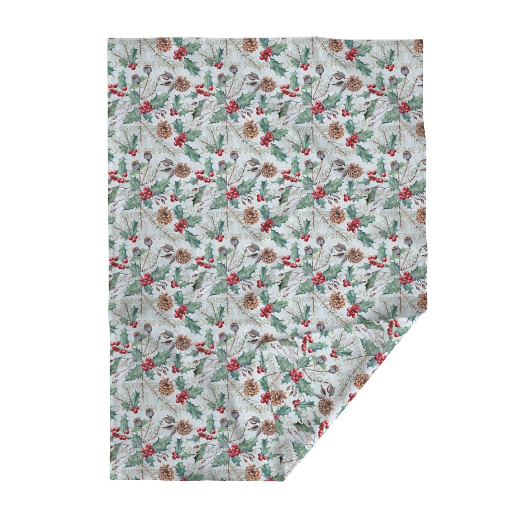 Lakenvelder Throw Blanket featuring Winter Flora by malibu_creative