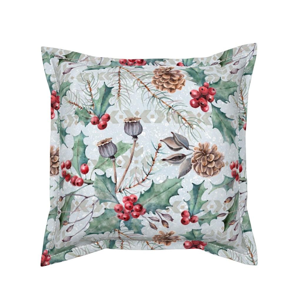 Serama Throw Pillow featuring Winter Flora by malibu_creative
