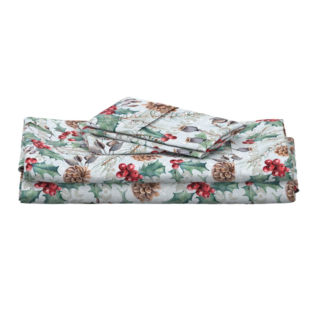 Langshan Full Bed Set featuring Winter Flora by malibu_creative