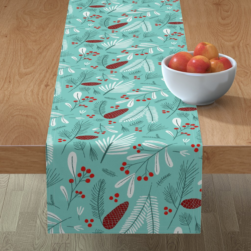 Minorca Table Runner featuring Mint, white and red winter flora by circe_oropeza