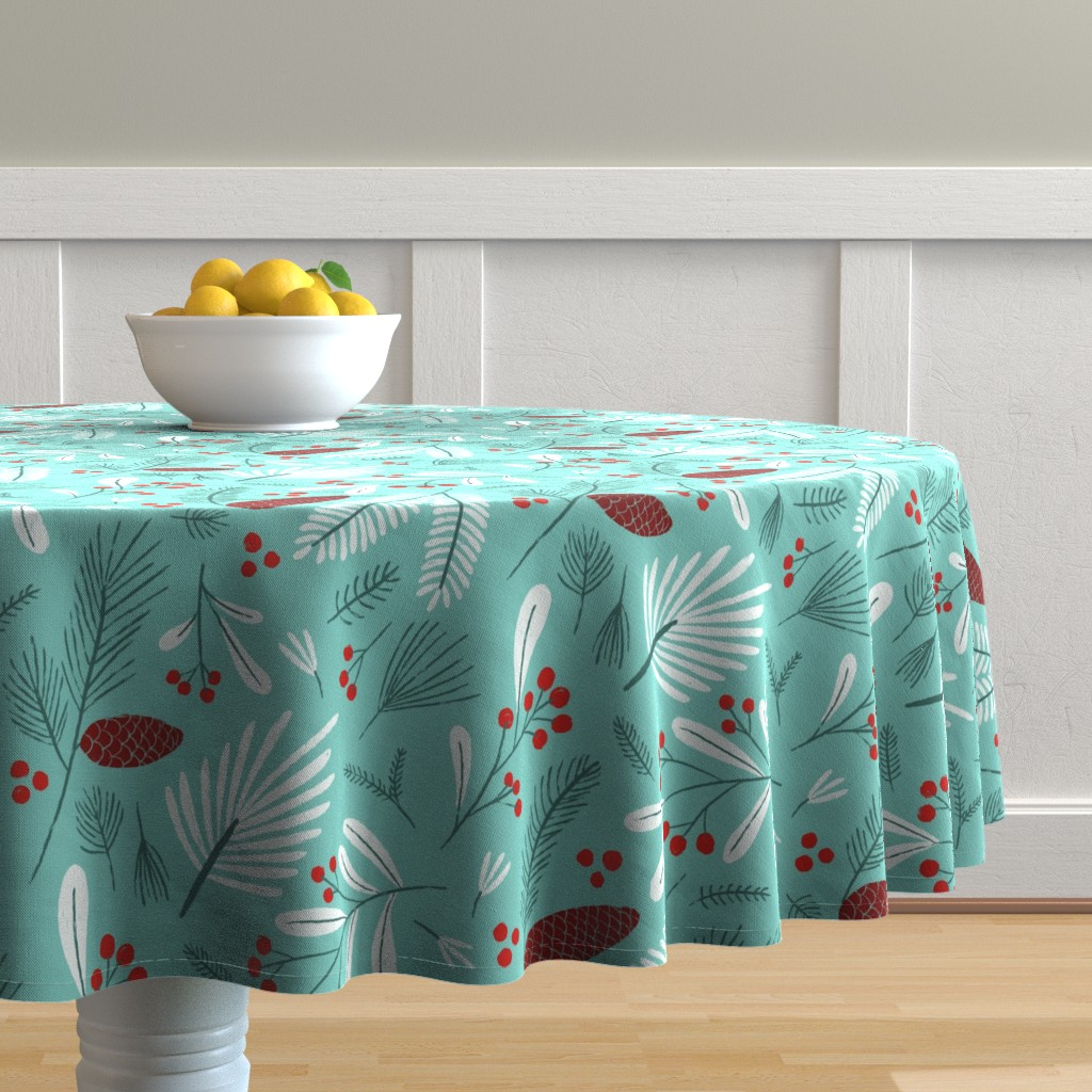 Malay Round Tablecloth featuring Mint, white and red winter flora by circe_oropeza