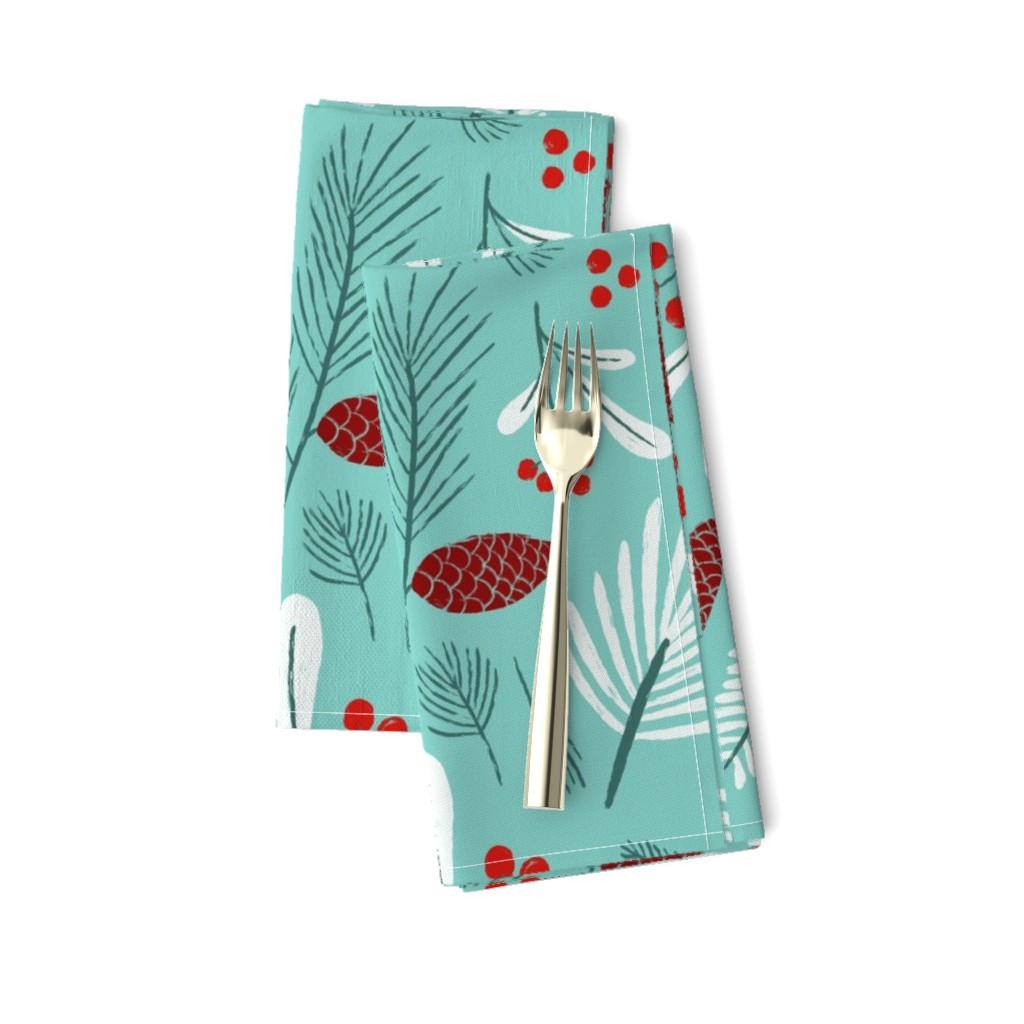 Amarela Dinner Napkins featuring Mint, white and red winter flora by circe_oropeza