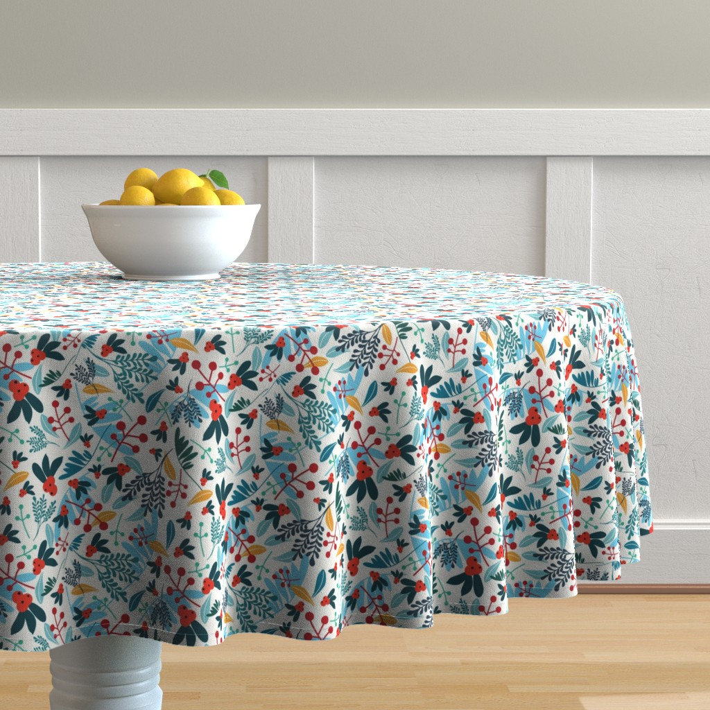 Malay Round Tablecloth featuring Winter berries by narae_studio